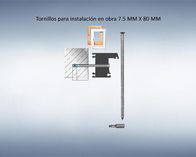 Tornillos para instalación en obra 7.5 MM X 80 MM