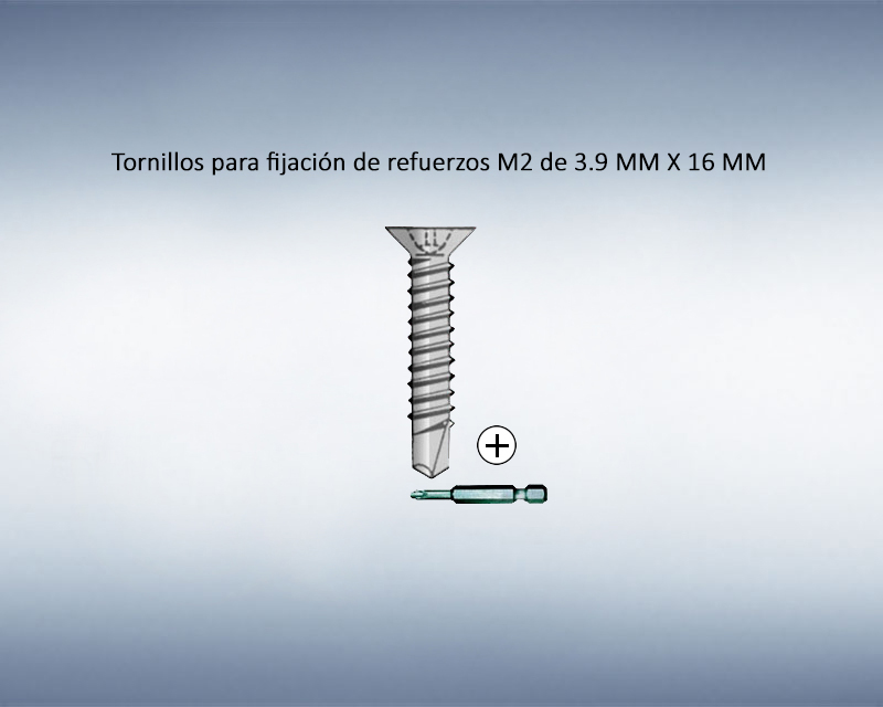 Tornillos para fijación de refuerzos M2 de 3.9mm X 16mm